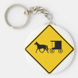 Horse-drawn Vehicle Traffic Highway Sign Key Ring