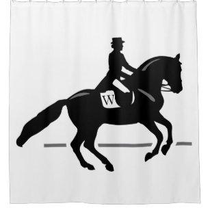 Horse Dressage Custom Initial Colour Background Shower Curtain