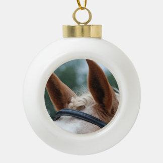 horse ears ceramic ball christmas ornament