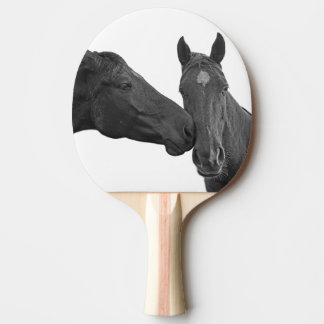 Horse equestrian animal black and white photo ping pong paddle