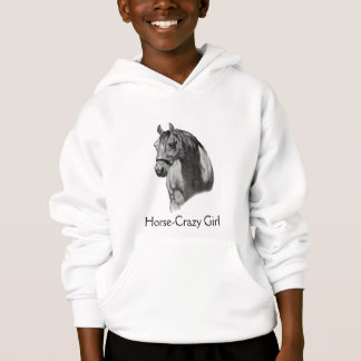 HORSE: Equine PENCIL Drawing: HORSE-CRAZY GIRL