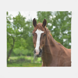 Horse Face With Marking Fleece Blanket