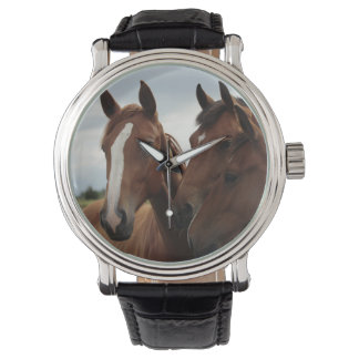 Horse Faces on Black Vintage Leather Wrist Watch
