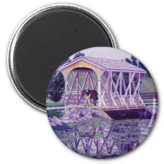 Horse Farm Bridge 6 Cm Round Magnet
