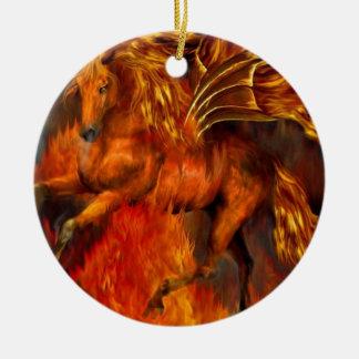 Horse fire christmas ornaments
