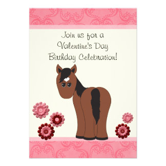 Horse Flowers Valentine Birthday Invite Girls