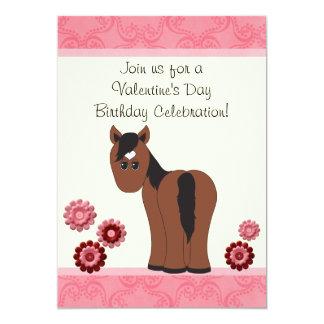 Horse & Flowers Valentine Birthday Invite ~ Girls