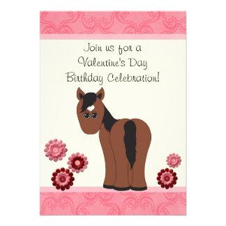 Horse Flowers Valentine Birthday Invite Girls