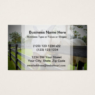 horse fly mask over fence pasture image business card