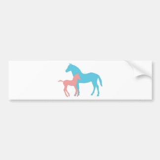 Horse & foal pink & blue silhouette bumper sticker car bumper sticker