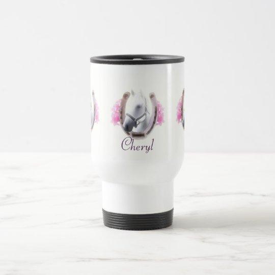 Horse Framed By Horseshoe Personalised Travel Mug