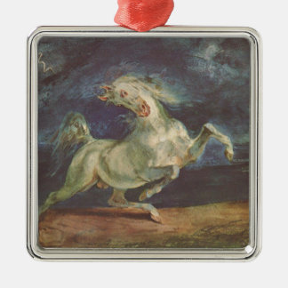 Horse Frightened by a Storm by Eugene Delacroix Silver-Colored Square Decoration