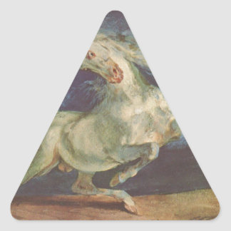 Horse Frightened by a Storm by Eugene Delacroix Triangle Sticker