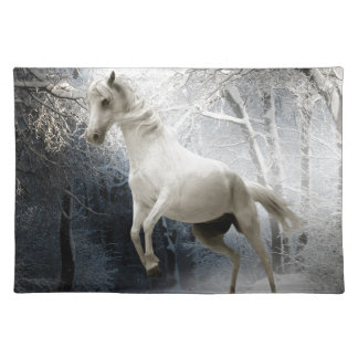HORSE - FRISKY IN THE FOREST - LOVELY WHITE HOR PLACEMAT