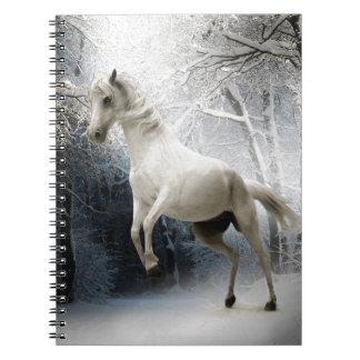 HORSE - FRISKY IN THE FOREST - LOVELY WHITE HOR SPIRAL NOTEBOOK