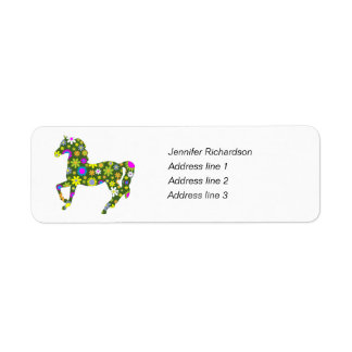 Horse funky floral custom return address labels