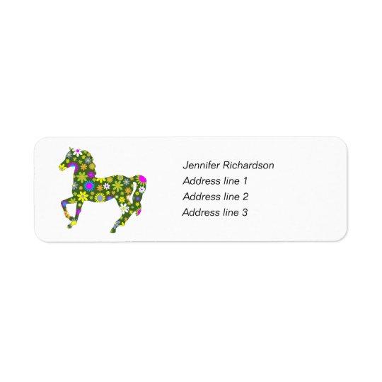 Horse funky floral custom return address labels
