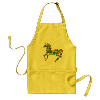 Horse funky floral retro flowers fun colorful gift standard apron