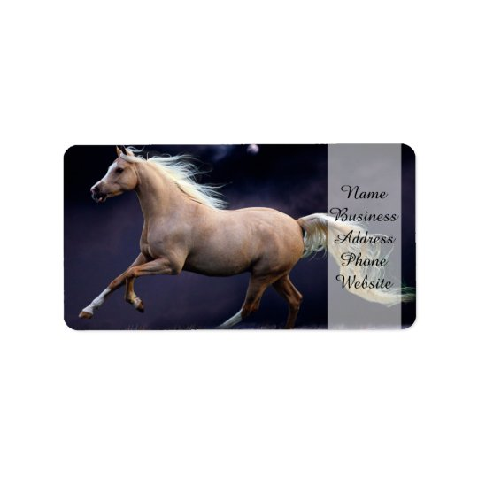 horse galloping address label