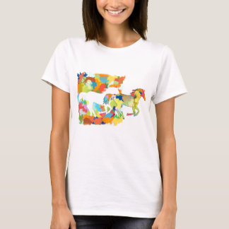 Horse Galloping out of Colorful Splash Design T-Shirt