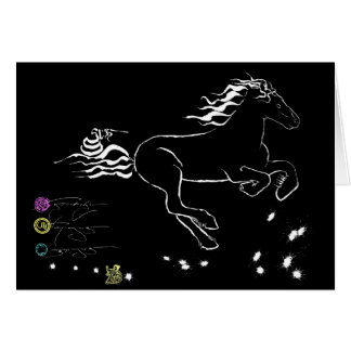 Horse galloping right (wb) [card] card