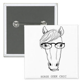 Horse Geek Chic Button Square