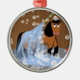 Horse Getting a Bath.tif Silver-Colored Round Decoration