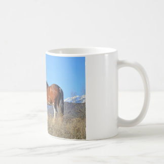 Horse Grass and Mountains Coffee Mug
