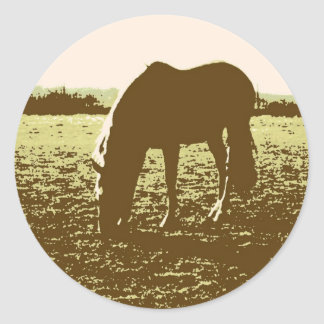 Horse Grazing Pop Art Round Sticker