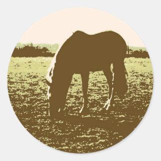 Horse Grazing Pop Art Round Stickers