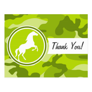 Horse;  green camo, camouflage postcards