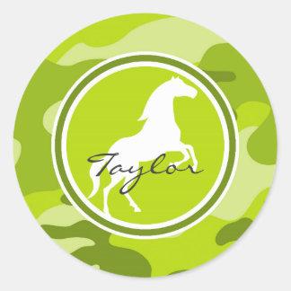 Horse green camo camouflage round sticker