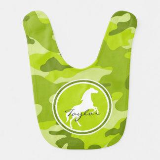 Horse green camo camouflage baby bib