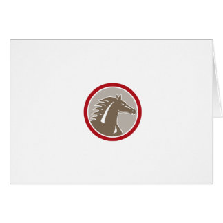 Horse Head Angry Circle Retro Greeting Cards