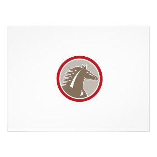 Horse Head Angry Circle Retro Personalized Announcements