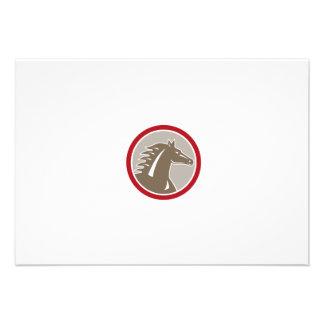 Horse Head Angry Circle Retro Invitations