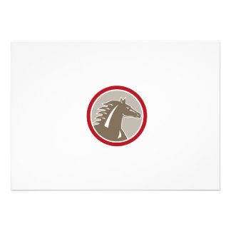 Horse Head Angry Circle Retro Personalized Announcement