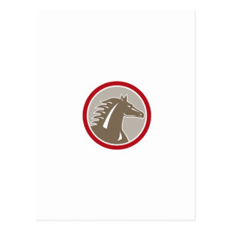 Horse Head Angry Circle Retro Post Cards