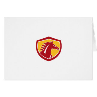 Horse Head Angry Shield Retro Greeting Cards