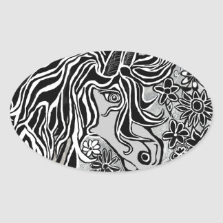 horse head black and white hand illustrated ornate oval sticker