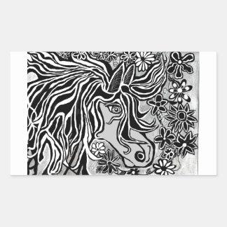 horse head black and white hand illustrated ornate rectangular sticker