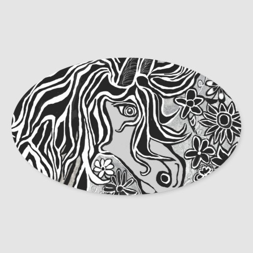 horse head black and white hand illustrated ornate stickers