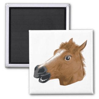 Horse Head Creepy Mask Square Magnet