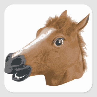 Horse Head Creepy Mask Square Sticker