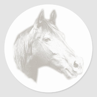 Horse Head in Black and White Round Sticker