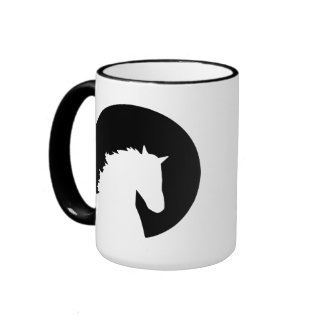 Horse head moon coffee mugs