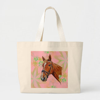 Horse head on floral background, jumbo tote bag