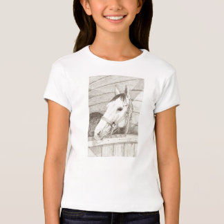Horse Head Pencil Drawing Girl's T-shirt