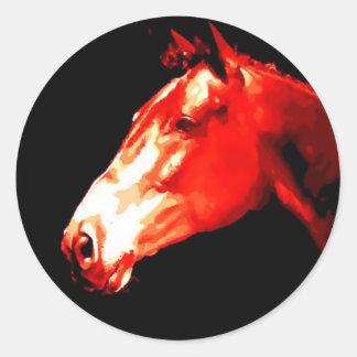 Horse Head Pop Art Round Sticker