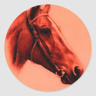 Horse Head Round Sticker